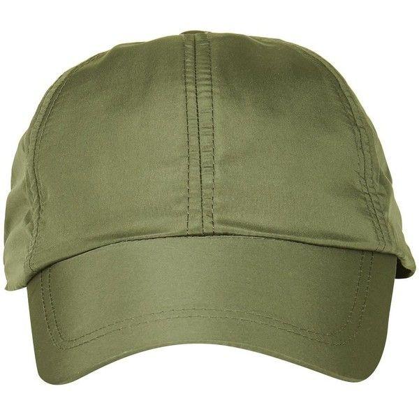 Topshop Nylon Cap ($11) ❤ liked on Polyvore featuring accessories, hats, khaki, nylon hat, nylon cap, khaki hat, khaki cap and cap hats