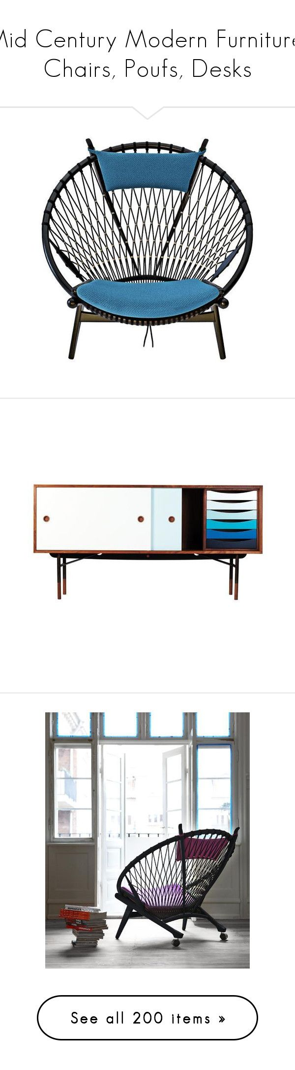 """""""Mid Century Modern Furniture, Chairs, Poufs, Desks"""" by haikuandkysses on Polyvore featuring home, furniture, chairs, storage & shelves, sideboards, desks, home decor, holiday decorations, shoe storage box and british home decor"""