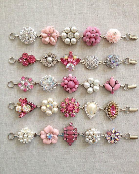 Vintage earring bracelets, blush, pink, bridesmaid bracelets, rhinestone, ivory pearl, bridesmaid bracelet set