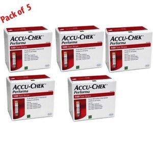 a accu chek performa 500 test strips 5 boxes x 100 each expiration nov 2018