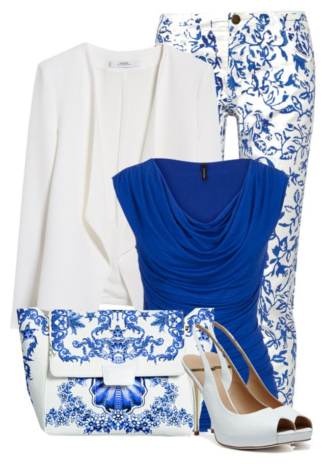 """Porcelain Print"" by cassandra-cafone-wright ❤ liked on Polyvore featuring Diane Von Furstenberg, MANGO, maurices and GUESS by Marciano"