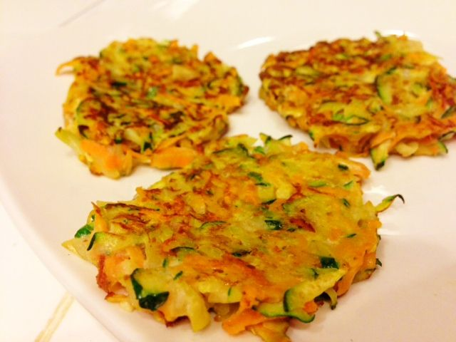 healthy sweet potato zucchini latkes.  - I made these tonight, and added a touch of salt and lots of pepper.  they are delicious!    TS