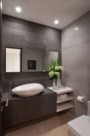 Contemporary Powder Room with Porcelanosa: cubica silver wall tile, Vessel sink, Porcelanosa Borneo Sage Tile, Powder room