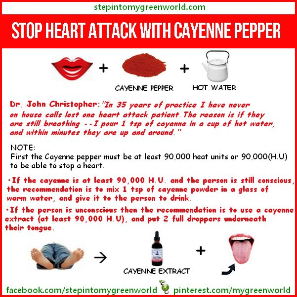 Cayenne Pepper for Heart Attack: (NOTE: this is not a cure, this is a recommended treatment procedure) Found on Gods Garden of Eden on Facebook