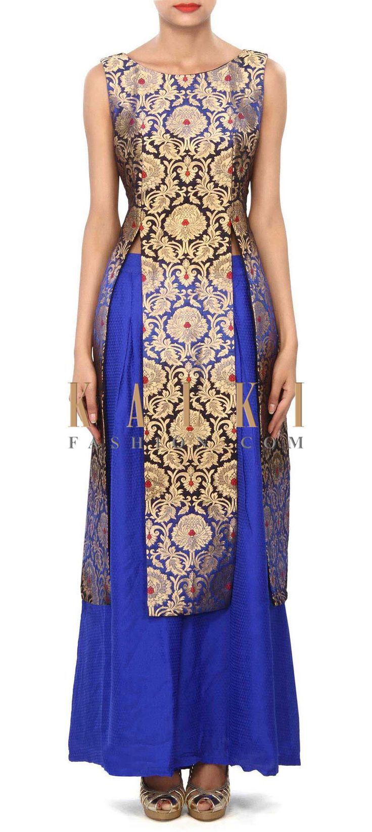 Buy Online from the link below. We ship worldwide (Free Shipping over US$100) Price- $289 Click Anywhere to Tag http://www.kalkifashion.com/royal-blue-and-black-kurti-mathced-with-palazzo-pants-only-on-kalki.html