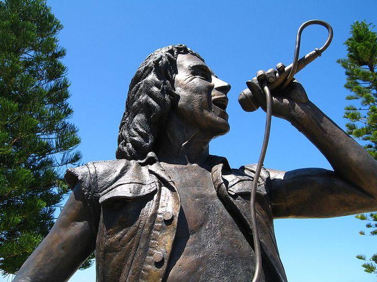 Statue of Bon Scott by Greg James. Fisherman's Wharf, Fremantle, Western Australia.