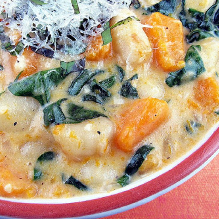 Creamy Gnocchi, Butternut Squash and Spinach Recipe - Delicious! I cooked the gnocchi before putting it in the sauce which was a good idea. The squash took a while to get soft, so maybe cook the squash in the liquid a while before adding the gnocchi.