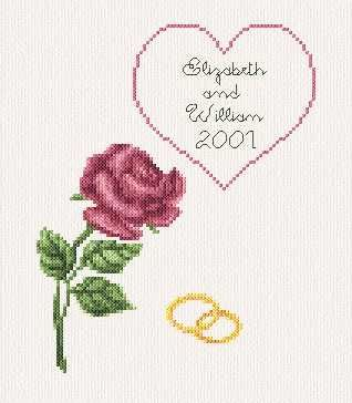 Wedding Anniversary Card cross stitch pattern.