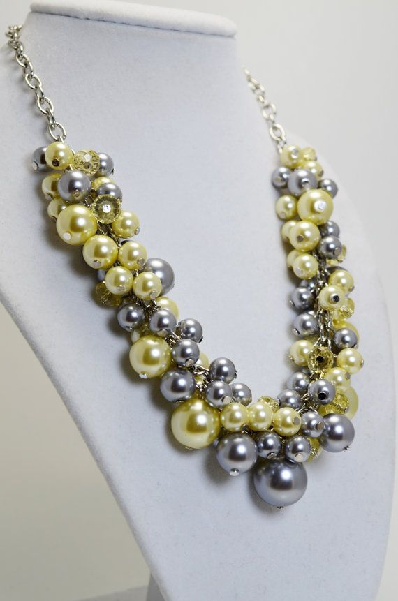 Gray and Yellow Cluster Necklace Bridal Necklace by Eienblue, $28.00