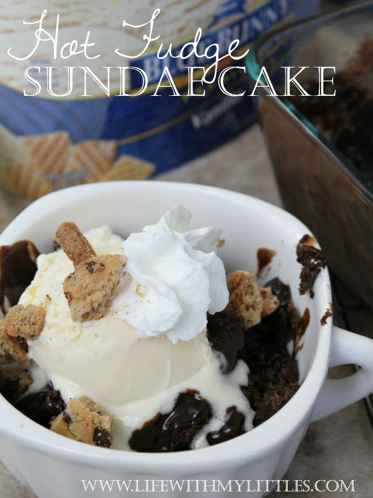 Super easy Hot Fudge Sundae Cake. It's the perfect summer dessert! A chocolate, fudgey cake topped with vanilla ice cream, whipped cream, and cookies!