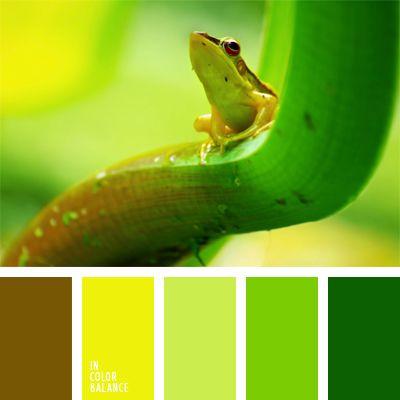 amarillo, color amarillo vivo, color marrón verdoso, color verde lechuga amarillento, color verde pantano, matices del verde lechuga, paleta de colores monocromática, paleta del color verde monocromática, tonos verdes, verde pardusco, verde y amarillo.