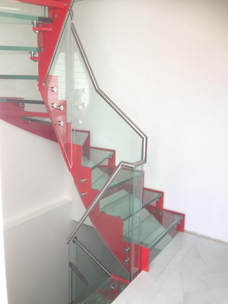 Glasstrapp med stålvanger | Design stair with glass steps stainless handrail