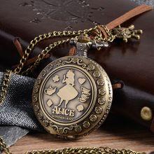Cindiry Neue Ankunft Retro Eine im Wunderland Thema Bronze Quarz Taschenuhren Vintage Fob Uhren Weihnachten Brithday Geschenk P20