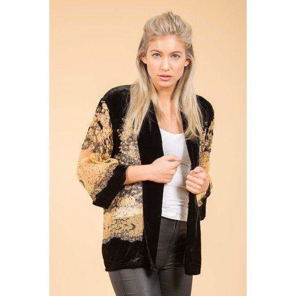 Jayley Black Gold Silk Devore Jacket found on Polyvore featuring women's fashion, outerwear, jackets, gold jacket, silk jacket, silk kimono jacket, silk kimono and kimono jacket