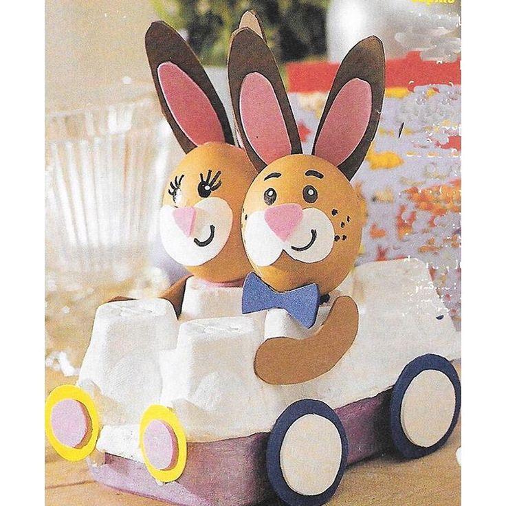 """145 gilla-markeringar, 2 kommentarer - Johanna & Samira (@pysslamedkidsen) på Instagram: """"Raka vägen mot påsken. Söta kaniner ingen äggkartongbil. För att göra kaninerna kan du egentligen…"""""""