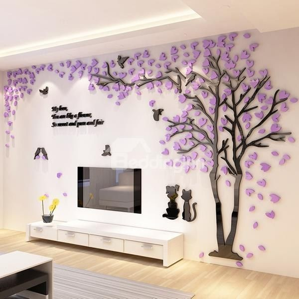 lovely creative design acrylic beautiful tree and birds pattern 3d wall stickers - Design Stickers For Walls