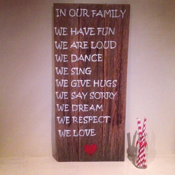 Check out this item in my Etsy shop https://www.etsy.com/listing/191483540/in-our-family-timber-sign