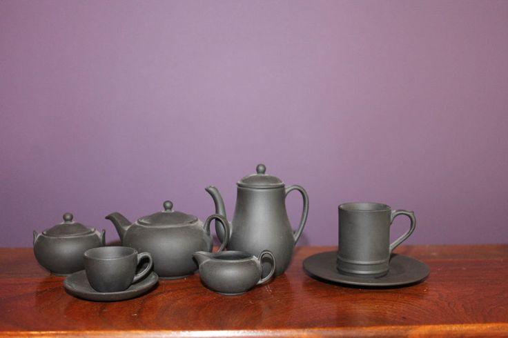 WEDGWOOD BLACK BASALT TEA SET 11 Piece Miniature in ORIGINAL BOXES