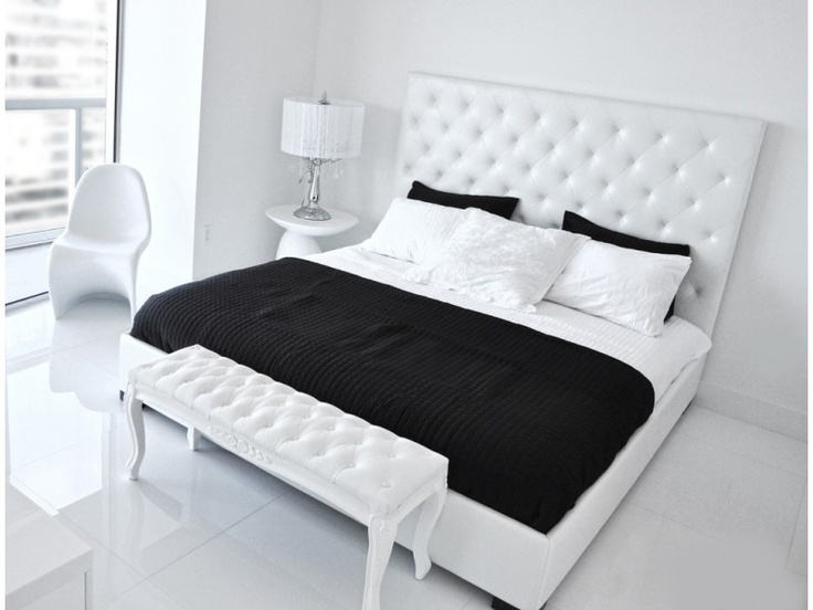 modern contemporary white tufted leather high headboard beds