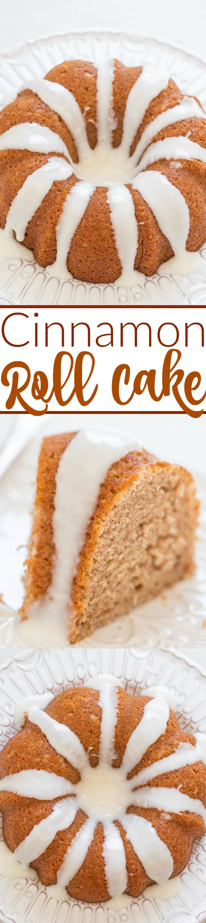Glazed Cinnamon Roll Cake - The flavor of cinnamon rolls in a soft, tender, EASY cake!! One bowl, no mixer, and you're going to love the tangy-sweet GLAZE!!