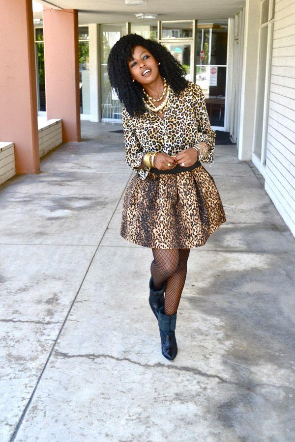 Leopard Print Shirt + Leopard Print Skirt