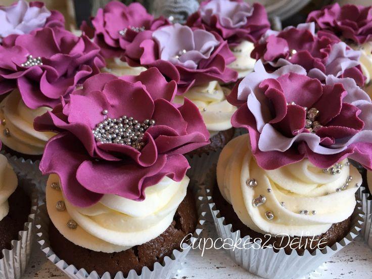Sangria & Grey Wedding Cupcakes by Cupcakes2Delite