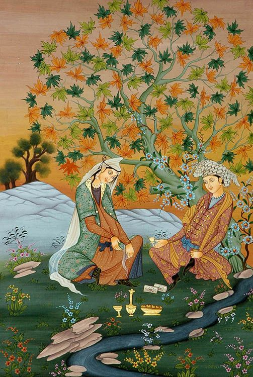 Persian Lovers under tree - miniature painting