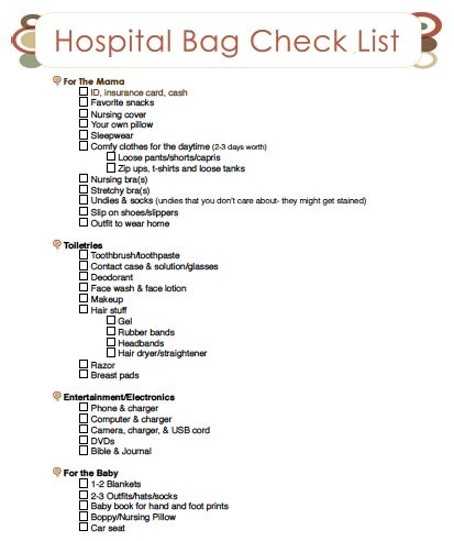 A Printable Hospital Bag Checklist….a little extensive for me but it covers everything possible