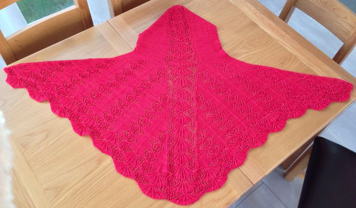 Jo's pride shawl with subtle beading.