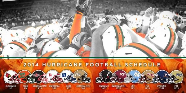 Miami Hurricane Football Schedule Release Graphic on Twitter