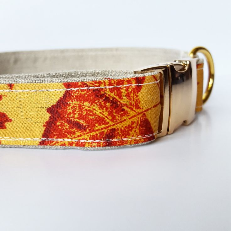 Dog Collar, Fall Dog Collar, Autumn leaves, Gold Dog Collar, Collar for large dogs, Rose Gold Dog Collar, Dog Collar Gold by NicSews on Etsy