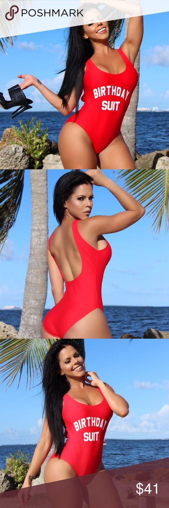 Red Birthday Suit Fancy Bodysuit Miami Swimwear The Best swimsuit to celebrate your birthday! Fashion Miami Styles wish to you celebrate at Islands or Miami Beach))) Model wearing size M. Brand FashionMiamiStyles Victoria's Secret Swim One Pieces
