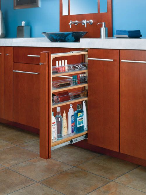 """View the Rev-A-Shelf 432-VF26-3 3"""" Vanity Filler Pull Out Organizer with Adjustable Shelves and Bins at Build.com."""
