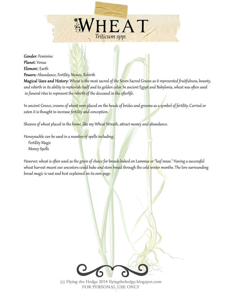 Magical Properties of Wheat. Free BOS Page!
