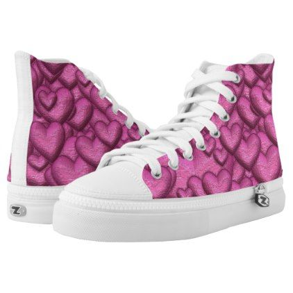 Shimmering hearts pink High-Top sneakers - valentines day gifts love couple diy personalize for her for him girlfriend boyfriend