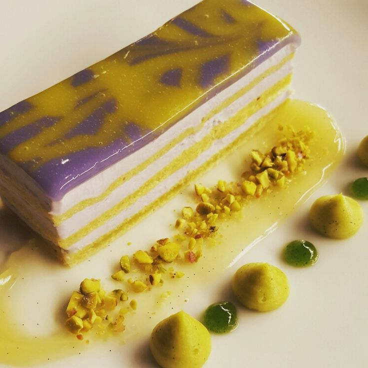 Pistachio torte, violet mascarpone, pistachio cremeux, yuzu gel ...
