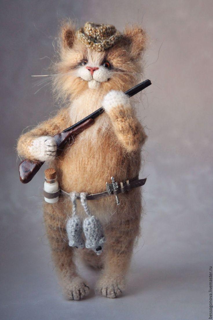 Купить УДАЧНАЯ ОХОТА Вязаный кот - кот, котик, игрушка кот, игрушка котик