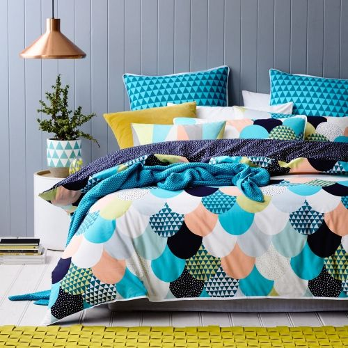 One of our best selling bedlinen designs is now available in an exciting new colour scheme! A contemporary scallop print, rich in colour with scattered geometric patterns makes the Nolita quilt cover set a stand out from Home Republic. Made entirely from cotton for a beautifully soft texture, this design features a contrasting deep navy reverse for an alternate styling option. Complete the look with the gorgeous coordinating blue European pillowcases, also available in the Nolita range.