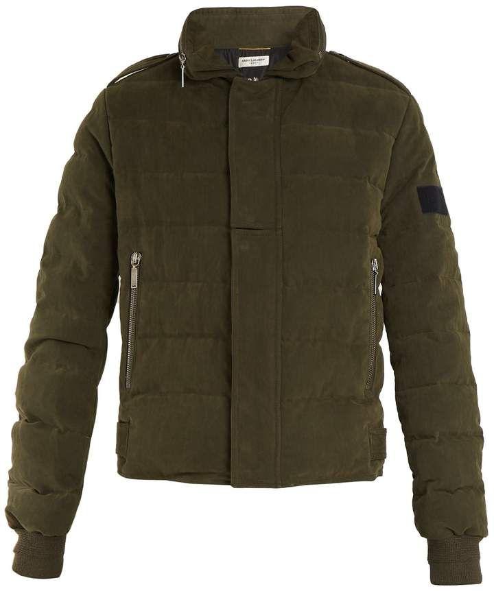 7c4c45f67a SAINT LAURENT High-neck quilted cotton-blend jacket | womens jackets ...
