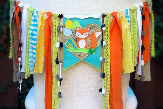 Fox Birthday Banner First Birthday Chair Banner by HouseOfLaylayt