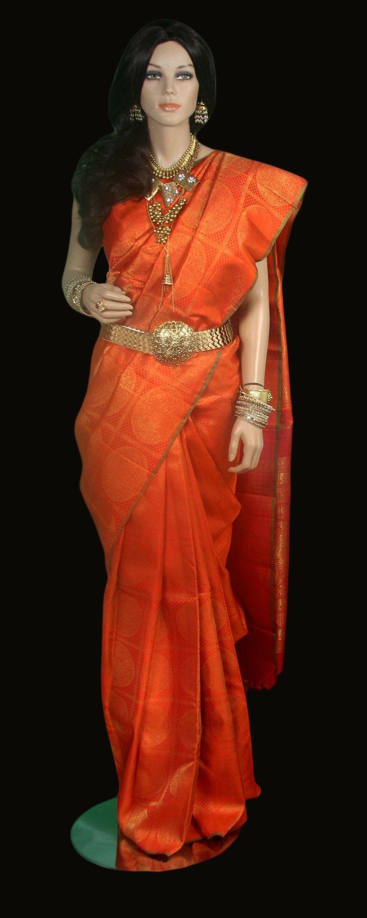Orange Kanjeevaram Saree with Zari Motifs in Zari Squares #Kanjivaram #Sarees #IndianShopping