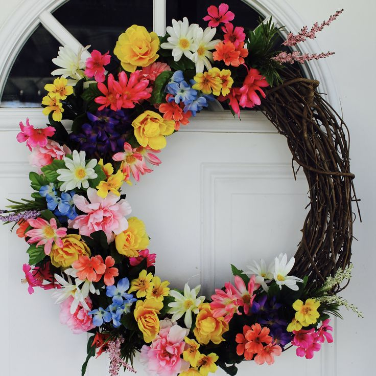 Spring Wreath, Springtime Wreath, Colorful, Bright, Floral Wreath, Flowers, Spring, Grapevine Wreath, Home Decor, Front Door Wreath, Summer http://etsy.me/2EDcr1N #GlitterDazzleSparkle #pink #easter #yellow