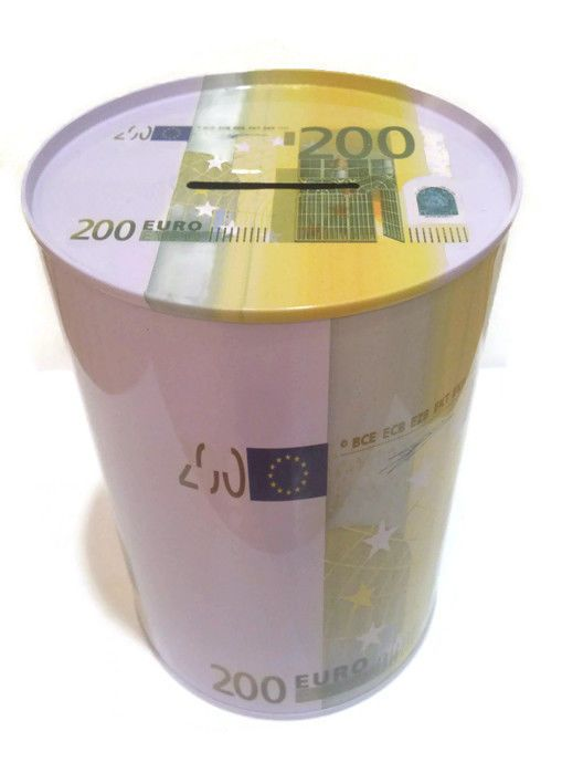 The Money Box Saving Bank Tin Coin 200 Euro Gift Piggy Bank Yelow White