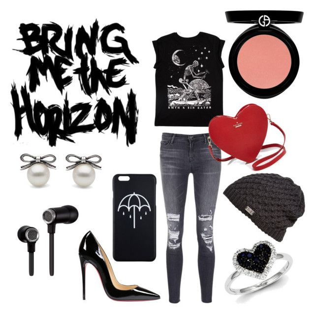 """""""BMTH"""" by megmegmarx on Polyvore featuring J Brand, Christian Louboutin, Kate Spade, Master & Dynamic, Under Armour, Kevin Jewelers and Armani Beauty"""
