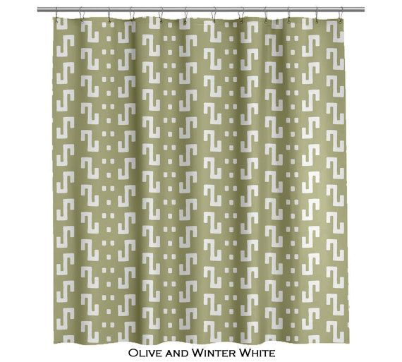 Modern Olive Green Shower Curtain 70 or 90 length  (103)