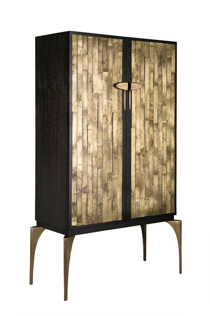 TENOCH CABINET BY HAMILTON CONTE PARIS | Storage cabinet in with finish oak veneer, layered brass door facades and cast brass legs and handles. | http://buffetsandcabinets.com/