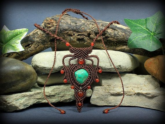Turqoise and Carnelian Alignment neckalce  by MundialTreasures