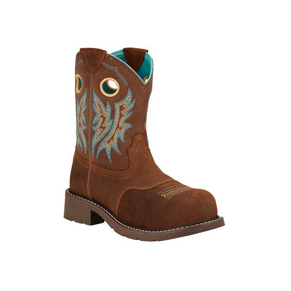 Women's Ariat Fatbaby Cowgirl Composite Toe Boot ($105) ❤ liked on Polyvore featuring shoes, boots, casual, tan, work boots, western work boots, safety toe work boots, leather work boots, cowgirl boots and western style boots