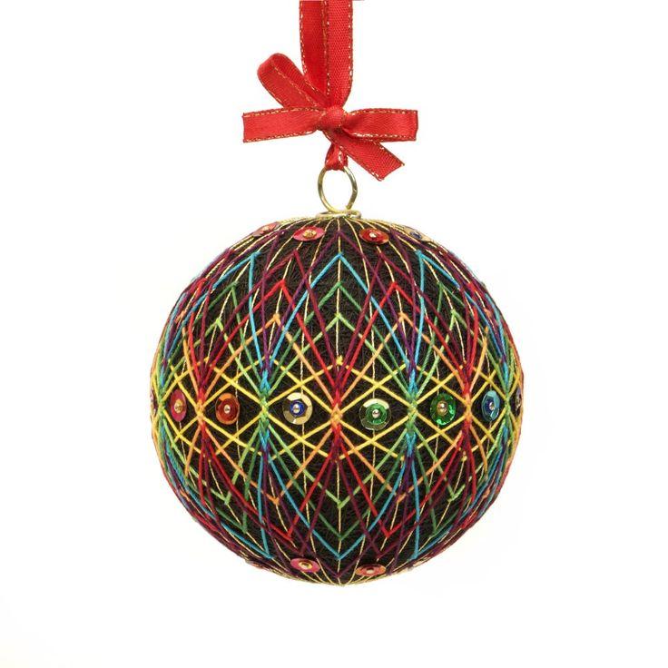BLACK KALEIDOSCOPE Christmas Ornament inspired on Japanese art Temari. Hand Made by JoeyART