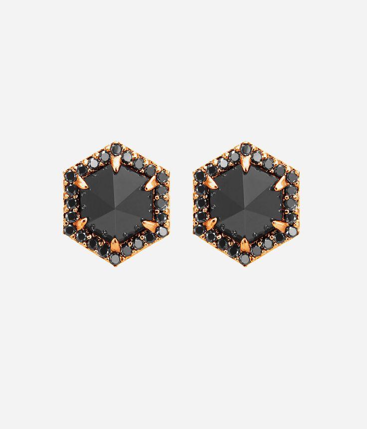 Luxe Hex Semi Precious Stud Earrings | Jewelry | Henri Bendel